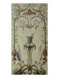 opéra royal : panneau d'arabesques avec rinceau, sirènes, fleurs et fruits Reproduction procédé giclée par Antoine-François Vernet