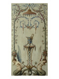 opéra royal : panneau d'arabesques avec rinceau, sirènes, fleurs et fruits Giclée-Druck von Antoine-François Vernet