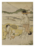 Paysanne portant sur la tête un plateau avec le repas des paysannes qui repiquent le riz et à la Giclee Print by Torii Kiyonaga