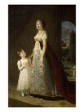 Caroline Bonaparte, reine de Naples et de sa fille ainée Laetitia Joséphine, représentée alors Giclée-Druck von Elisabeth Louise Vigée-LeBrun