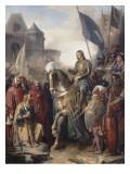 Le dauphin Charles (futur Charles V) rentrant au Louvre après l'assassinat d'Etienne Marcel et la Giclee Print by Adolphe Roger