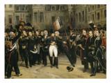 Adieux de Napoléon Ier à la garde impériale dans la cour du cheval blanc du château de Giclee Print by Horace Vernet