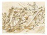 Jésus succombant sour le poids de la Croix près de sainte Véronique Giclée-tryk af Alessandro Algardi
