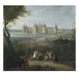Vue du ch&#226;teau de Chambord vers 1722 - au premier plan, le duc d&#39;Orl&#233;ans, R&#233;gent, donnant ses Reproduction proc&#233;d&#233; gicl&#233;e par Pierre Denis Martin