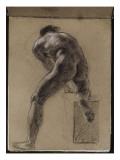 Album cartonné; Académie d'homme nu de dos, penché en avant, le genou droit sur un billot; vers Reproduction procédé giclée par Eugène Delacroix
