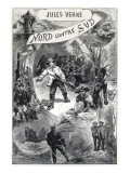"Jules Verne, Frontispiece of ""North Against South"" Giclée-Druck von Jules Verne"
