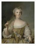 Madame Sophie de France, fille de Louis XV (1734-1782), représentée en buste tenant une guirlande Giclée-Druck von Jean-Marc Nattier