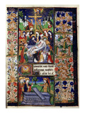 Manuscript of the Hours of Rohan-Montauban: The Descent from the Cross, And the Women at the Tomb Giclée-tryk