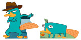 Agent P and Perry Cardboard Cutouts