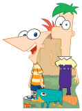 Phineas and Ferb with Perry Cardboard Cutouts
