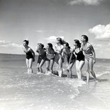 "Marquis De Cuevas"" Company on the Beach at Deauville: 7 Girls, 7 Nationalities Reproduction photographique"