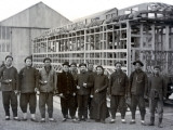 China, Local Employees Working at Construction of Railway Wagons Photographic Print