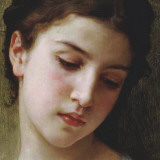 Head Study of a Young Girl (detail) Art by William Adolphe Bouguereau