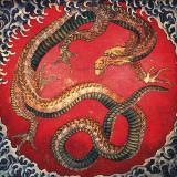 Dragon (detail) Print by Katsushika Hokusai