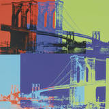 Brooklyn Bridge, vers&#160;1983 (orange, bleu, citron vert) Affiches par Andy Warhol