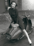 Posing on Motor Scooter Posters