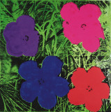 Andy Warhol - Flowers, c.1964 (1 purple, 1 blue, 1 pink, 1 red) - Poster