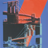 Andy Warhol - Brooklyn Bridge, c.1983 (pink, red, blue) Obrazy
