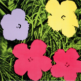 Flowers, c.1970 (1 purple, 1 yellow, 2 pink) Print van Andy Warhol