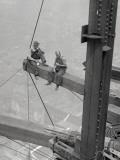 Workers Sitting on Steel Beam Plakaty