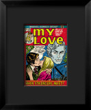 Marvel Comics Retro: My Love Comic Book Cover #20, Kissing, When Strangers meet! Impressão giclée emoldurada