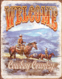 Welcome - Cowboy Country - Metal Tabela
