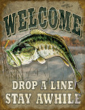 Welcome Bass Fishing Plaque en métal
