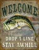 Welcome Bass Fishing Plaque en métal