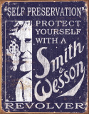 Smith & Wesson - Self Preservation Cartel de chapa