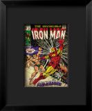 Marvel Comics Retro: The Invincible Iron Man Comic Book Cover #25, Fighting Namor, Sub-Mariner Impressão giclée emoldurada