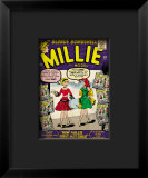 Marvel Comics Retro: Millie the Model Comic Book Cover #100, How Millie First Met Chili! Impressão giclée emoldurada