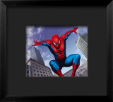 Spider-Man Jumping In the City Framed Giclee Print