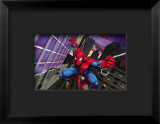 Spider-Man Swinging through the City Framed Giclee Print