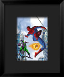 Spider-Man and Green Goblin Fighting in the City; Throwing Flaming Pumpkin Framed Giclee Print
