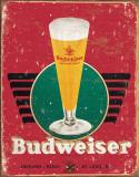 Bud - Retro Glass & Logo - Metal Tabela