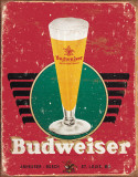 Bud - Retro Glass &amp; Logo Tin Sign