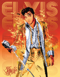 Petruccio - Elvis Gold Lame Plaque en métal