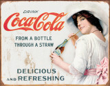 COKE - Thru a Straw Tin Sign