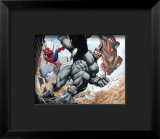 Spider-Man and Rhino Fighting - Battle Scene Framed Giclee Print