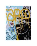 Yellow Aqua Graffiti I Giclee Print by Jenny Kraft