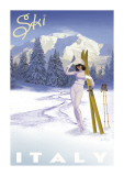 Ski Italy Giclée-tryk af Kem Mcnair