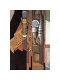 Glasses, Newspaper, and Bottle of Wine Giclee Print by Juan Gris