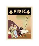 L&#39;Afrique en avion Reproduction proc&#233;d&#233; gicl&#233;e par Brian James