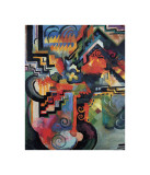 Colored Composition (Hommage a? Sebastin Johann Bach) Giclée-tryk af Auguste Macke