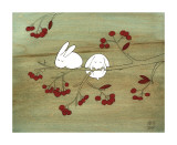 Rabbits on Berry Tree Lmina gicle por Kristiana Prn