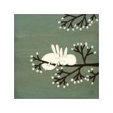 Rabbits on Marshmallow Tree Giclee Print by Kristiana Pärn