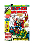 Giant-Size Avengers No.1 Cover: Thor, Captain America, Iron Man, Vision and Scarlet Witch Charging Art by Rich Buckler