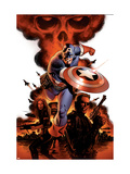 Captain America #1 Cover: Captain America, Nick Fury and Black Widow Posters tekijänä Steve Epting