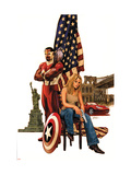 Captain America 49 Cover: Falcon, Carter and Sharon Prints by Epting Steve