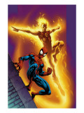 Ultimate Spider-Man 68 Cover: Spider-Man and Human Torch Posters by Mark Bagley